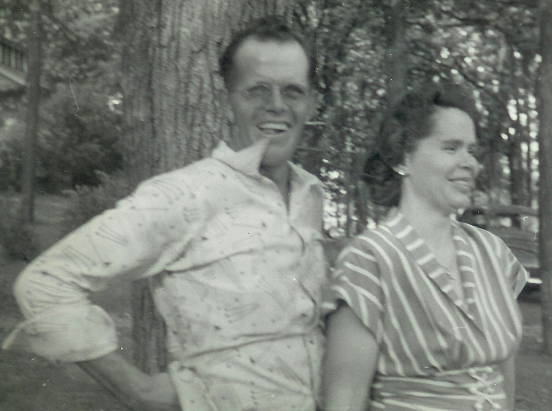 #340=Russ & Clarice N.@Pihl's Park NW of Kiester, MN; Summer 1953