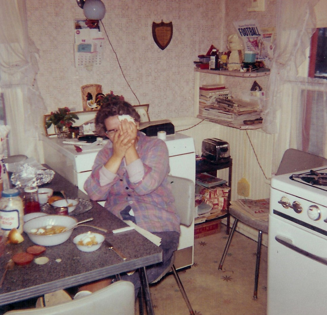 #354=Clarice N. at farm kitchen table; October 1961