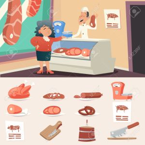 Meat Butcher Shop Granny Old Woman Seller Retro Vintage Cartoon Character Icon on Stylish Background Design Vector Illustration