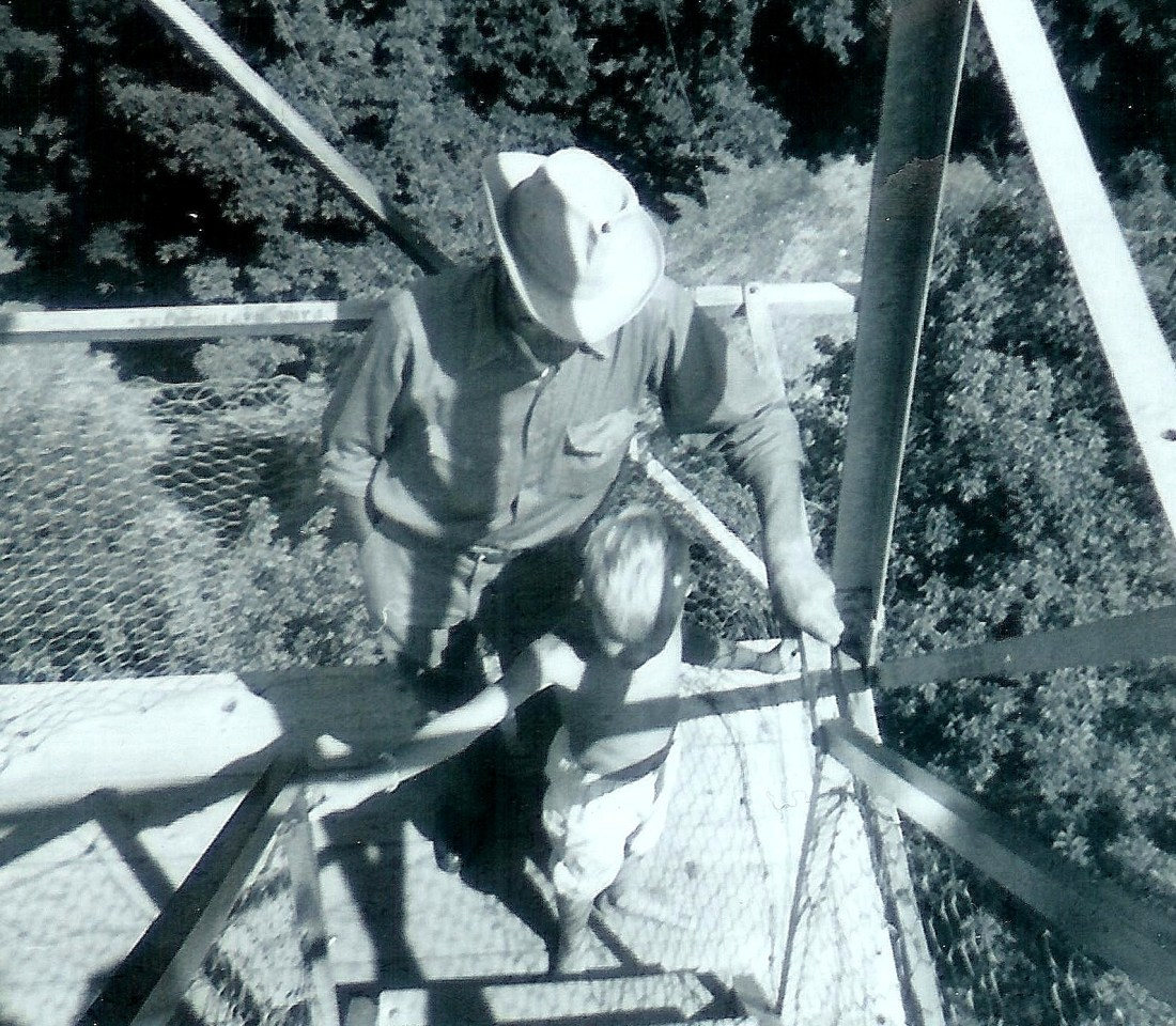 #121=Elliott & Dad on lookout tower, August 1961