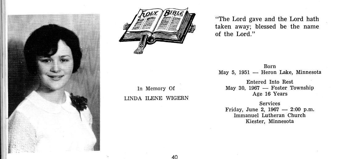 #965 Linda Wigern Memorial..KHS..Kiester, MN 001
