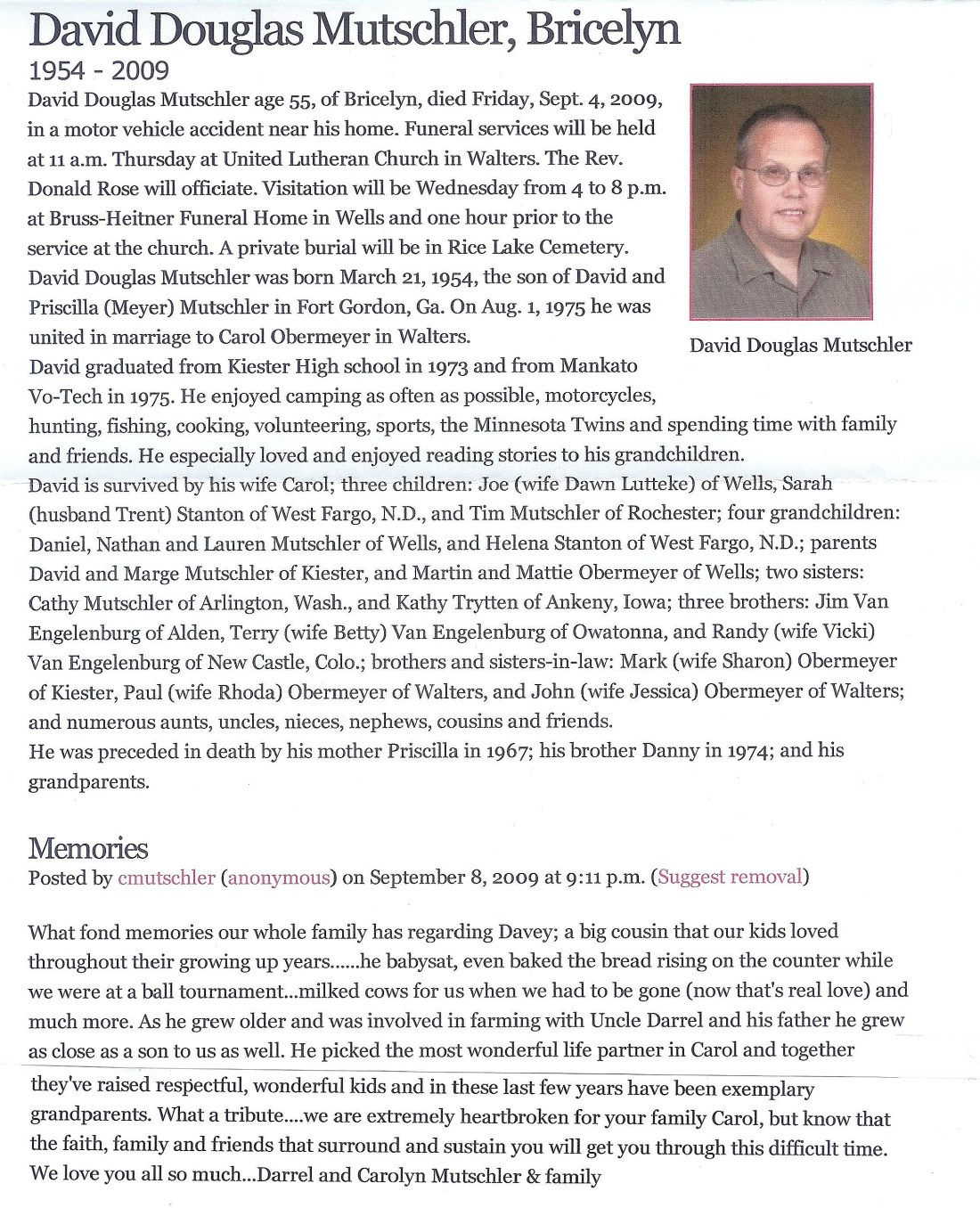 David D. Mutschler obituary Sept. 4, 2009