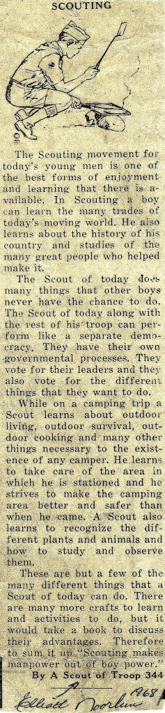 #825 Boy Scout newspaper article by N.E. Noorlun(1968)
