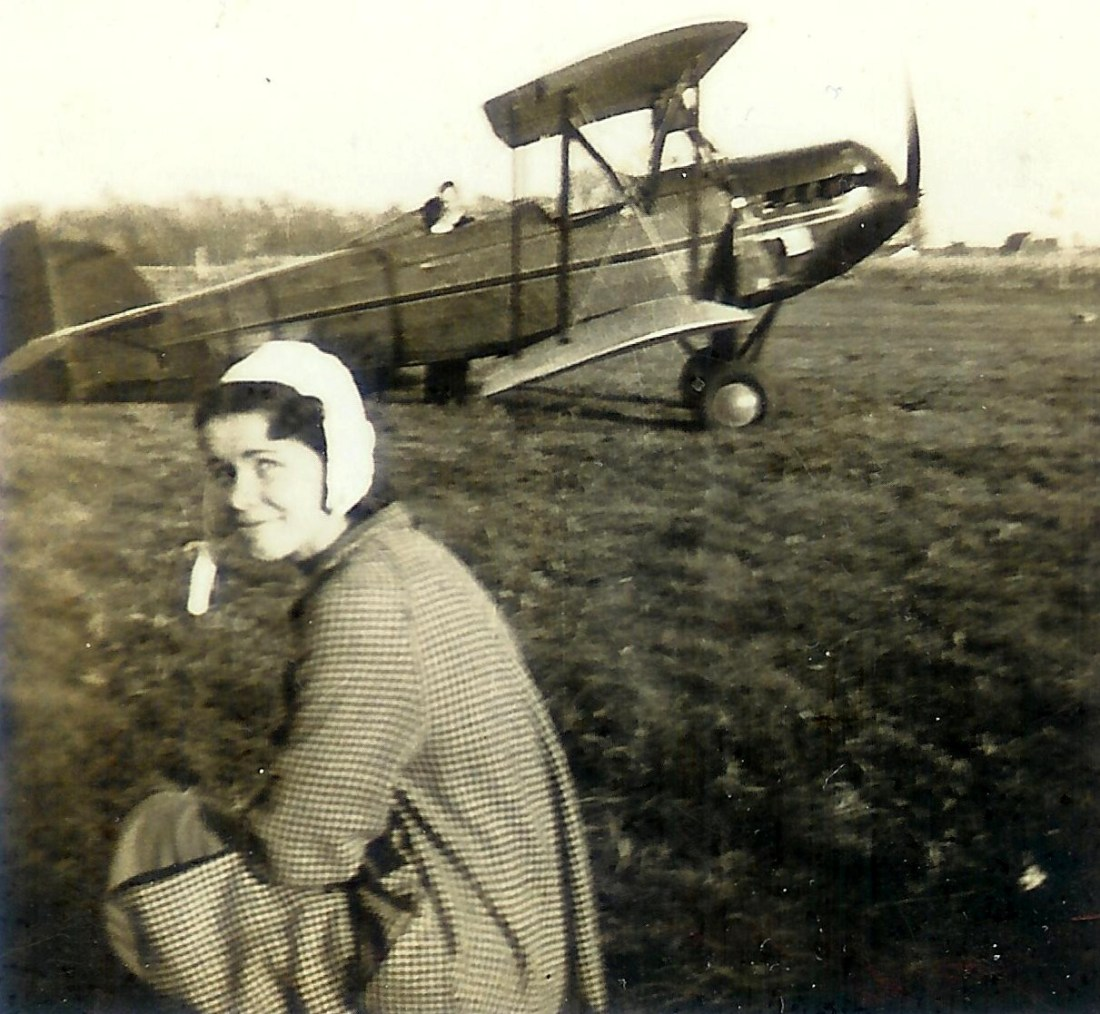 #332=Clarice Sletten gettin' ready to fly; Summer 1938