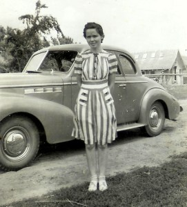 #344=Clarice S. in front of Aunt Ileen's car; Summer 1941
