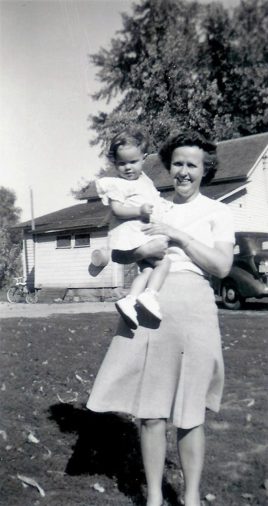#378=Rosemary & Aunt Esther Bidne at Kiester, MN farm; circa 1948