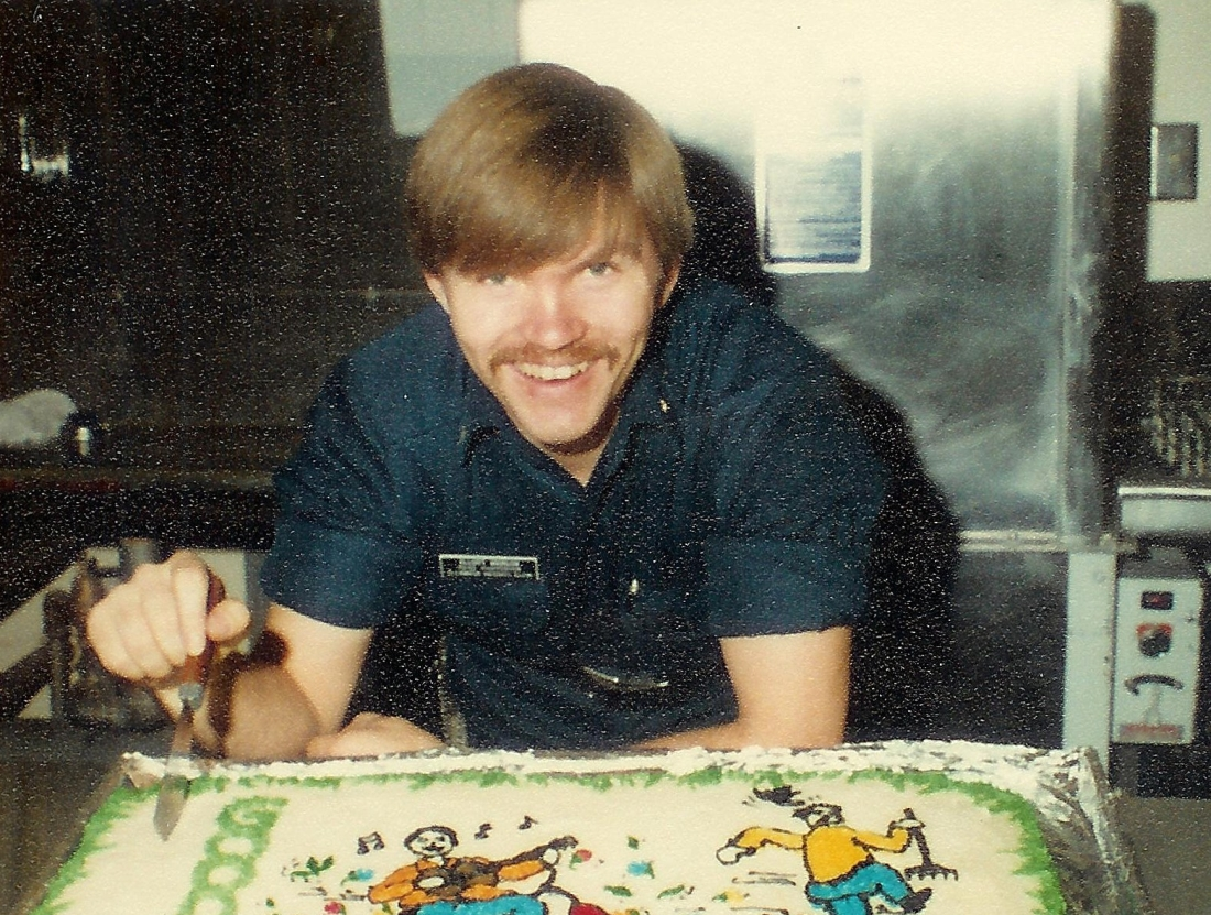 #300=Elliott with farewell cake at Glenwood; 1981