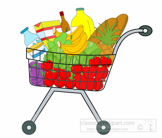 shopping cart full of grocery clipart