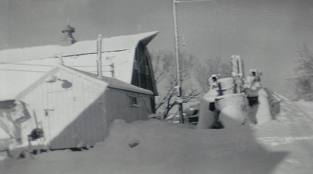 #78=Kiester farm, February 1959, W towards shop & barn