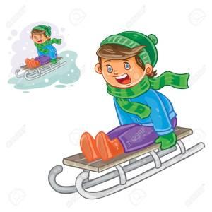Vector winter illustration of small boy sledding