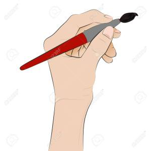 isolated human hand holding brush painting vector