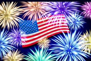 Aerial fireworks display behind a fluttering USA. Flag. 4th of July, Independence Day vector