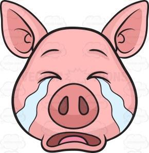 A pig weeping in tears