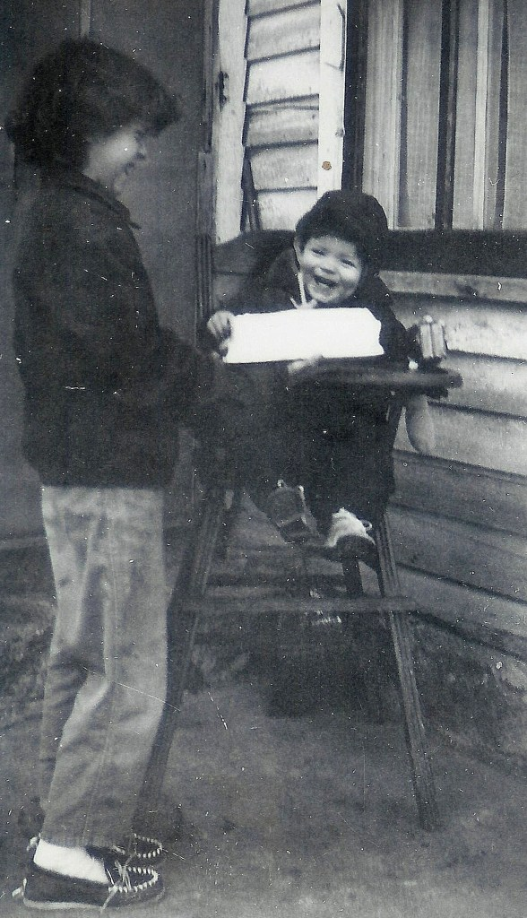 #133=Rosemary&Elliott laughing with BD cake; Jan. 14th, 1955