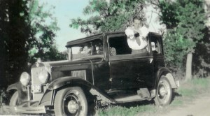 #364=Russ N.& 1929 Chevy@Tilman Thompson's farm, Lake Mills,IA; circa 1939