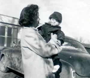 #142=Clarice&Elliott at Heitzegs; circa March 1955