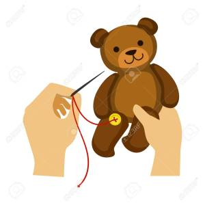 Two Hands Stitching Button To A Teddy Bear Toy, Elementary School Art Class Vector Illustration
