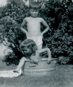 #249=Lowell & Rosemary playing in tub; circa 1949