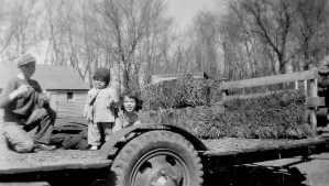 #45=Elliott, Lowell & Rosie on hay wagon(March 1955)
