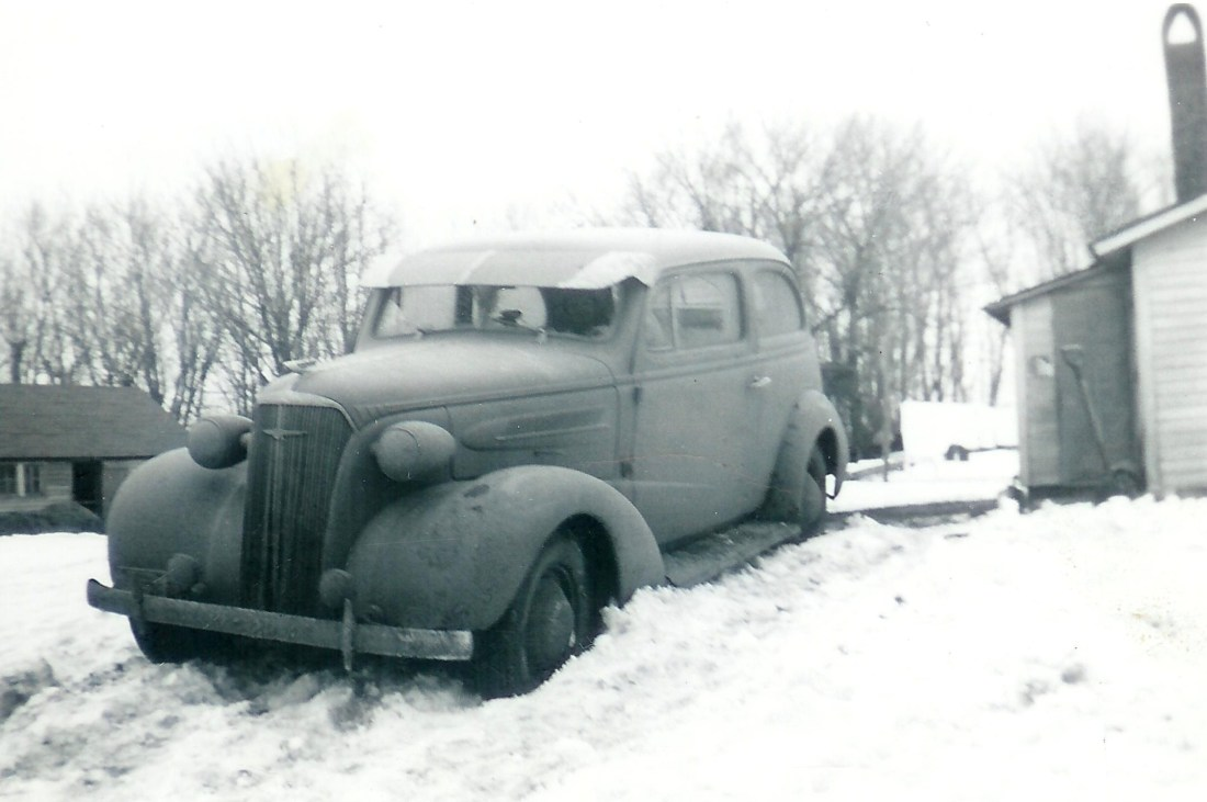#280=Rosie in 1936 Chevy stuck in snow; March 1951