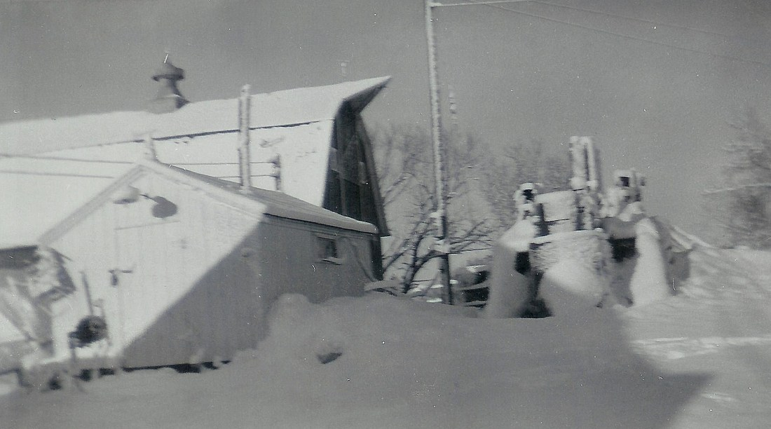 #78=Kiester farm, February 1959, W towards shop & barn
