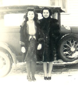 #352=Bev&Clarice S.by Del's Model A; Winter 1940