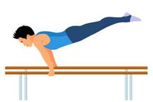 parallel bars men gymnastics clipart