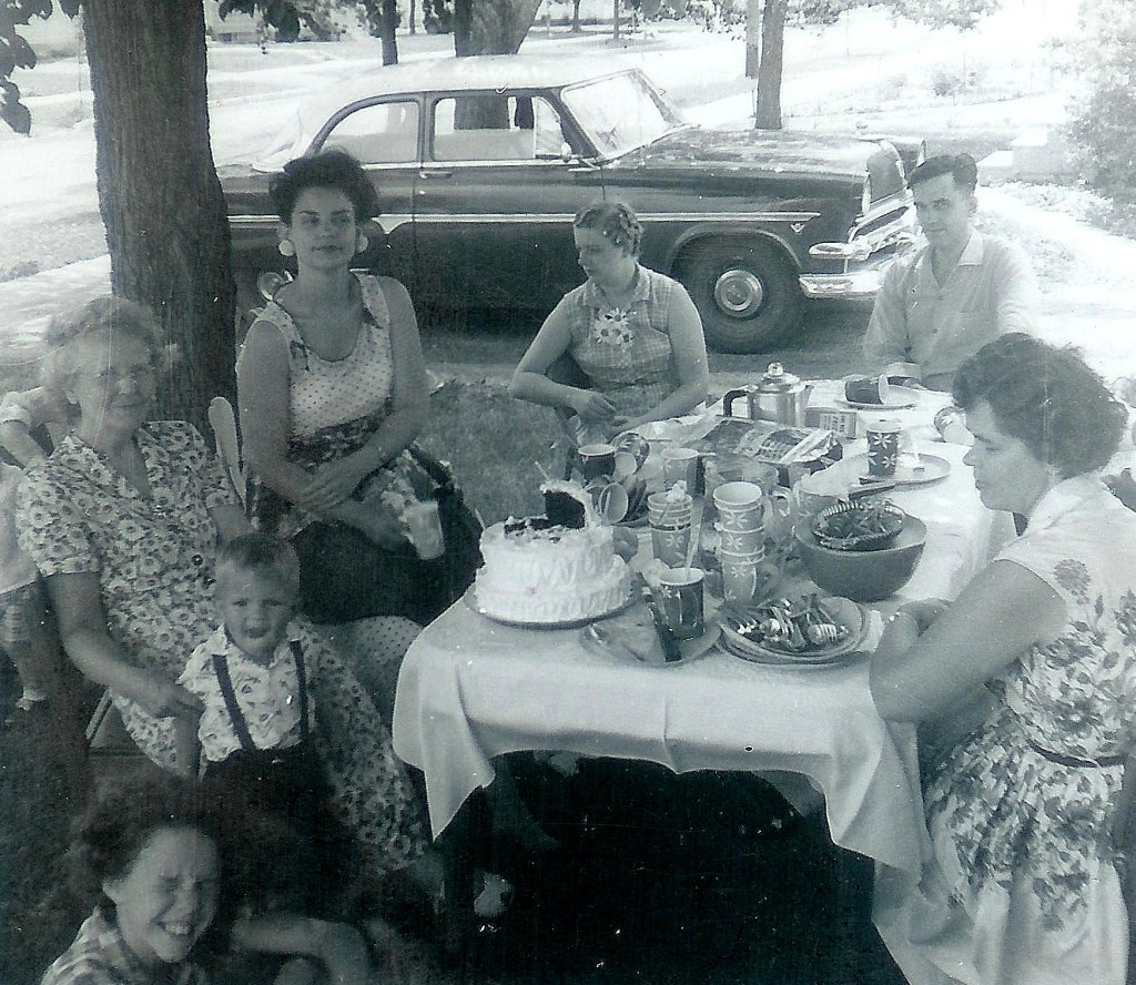 #122=Elliott at picnic with Grandma Sletten, circa 1956