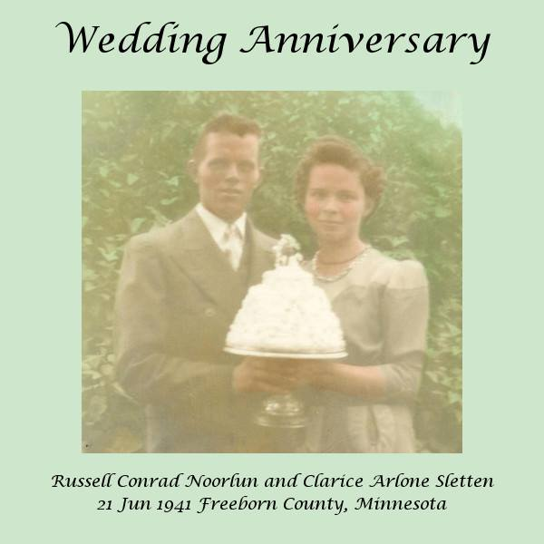 #21.2 Russell & Clarice Noorlun Wedding Day 6.21.41