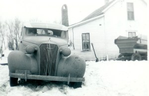 #265=Rosemary&1936 Chevy stuck in snow; Winter 1951