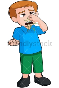 Boy with bad breath closing nose - Image isolated on transparent
