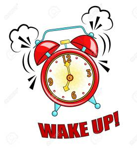 Comic alarm clock ringing and expression with wake up text. Vect